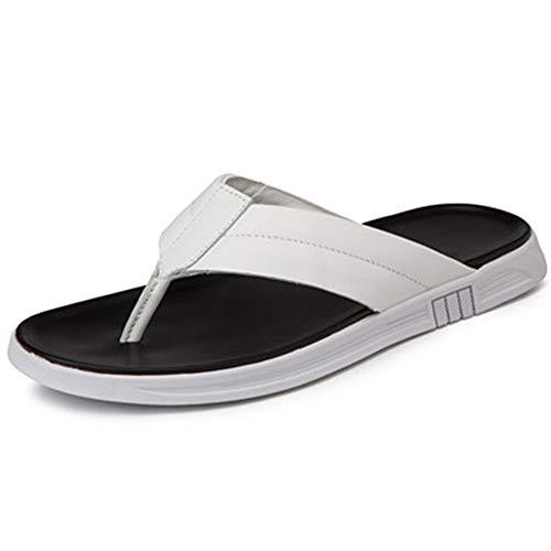 cicongzai Zapatos de Cuero para Hombre de Verano Hechos a Mano Sandalias Top Capa Retro Zapatos de Cuero Zapatillas Moda para Hombre Zapatos de Cuero Casual (Color : White, tamaño : 43 EU)