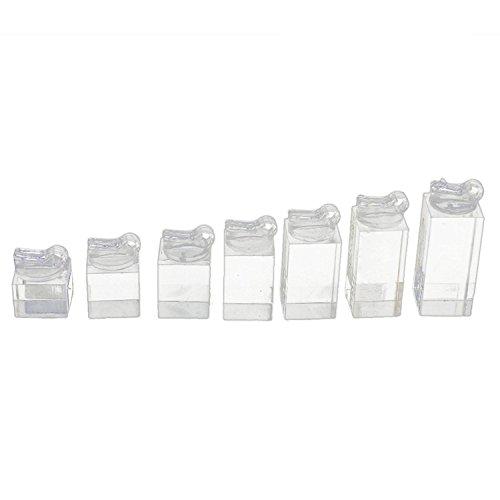 Hilai - Juego de 7 anillos de acrílico transparente con soporte expositor para joyería