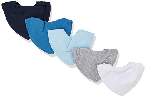 Pippi Unisex Baby 5er Pack Lätzchen Dreieckstücher Halstuch, Blau (Light Dusty Blue 710), (Herstellergröße:One Size)