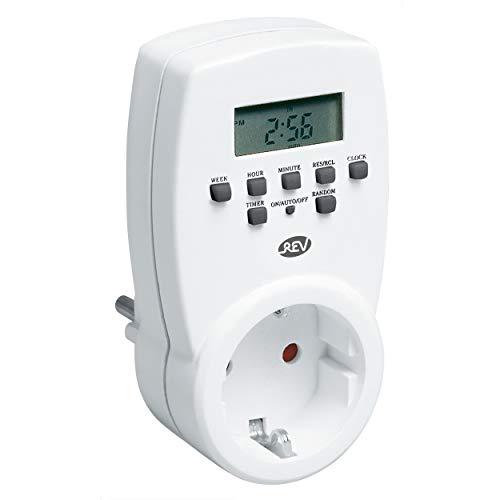 REV Ritter   Zeitschaltuhr digital   Schaltzeiten: 20/Tag und 140/Woche   Schaltleistung max. 1800W   12-24h Anzeige, Tag-/Wochen- u. Wochenendprogramm   Countdown u. Zufallsfunktion   230V~/50Hz,8A.
