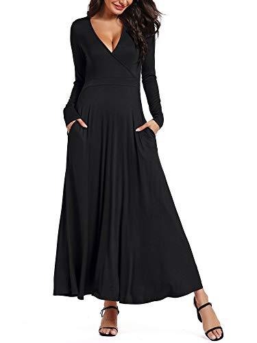 HUHOT Long Sleeves Casual Dress Deep V Neck A Line Evening Black Dresses Plus Size XL