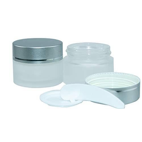 Pratique 10pcs 15ml Dépoli Bocaux en Verre, pour échantillons de Maquillage, Vernis à ongles, Poudres, Fards à Paupières - avec couvercles Argent,42x34x30mm (10,15ml)