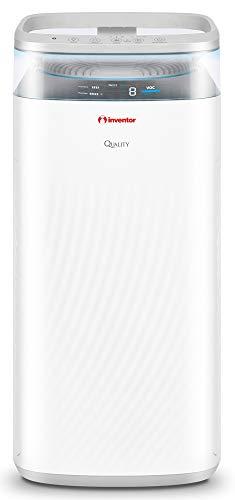 Inventor Quality QLT-500, Purificador de Aire Silencioso para Combatir bacterias, Virus y alergias, Dos Filtros HEPA H13 y Filtros de Carbón Activado, CADR de 500 m³/h para áreas de hasta 80m²