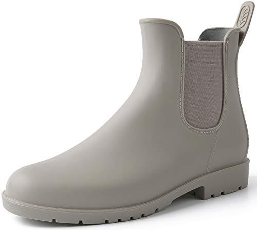 Acfoda Gummistiefel Damen Kurzschaft Regenstiefel Frauen Wasserdicht Lack Regen Schuhe Ankle Chelsea Boots Gummi Stiefeletten mit Blockabsatz Grau Gr.35
