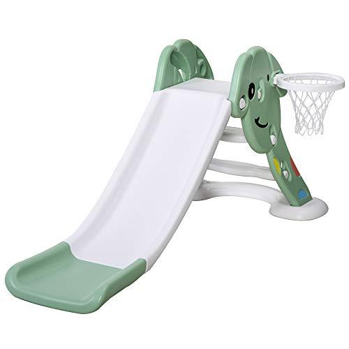 HOMCOM Tobogán Infantil con Canasta de Baloncesto para Niños de +2 Años Juguete Interior y Exterior Carga 25 kg Accesorios Incluidos 68x146x68 cm Verde