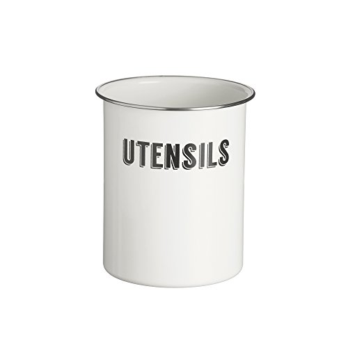 Typhoon Living Coated Steel Retro Utensil Pot, 5-Inches by 6-Inches, White