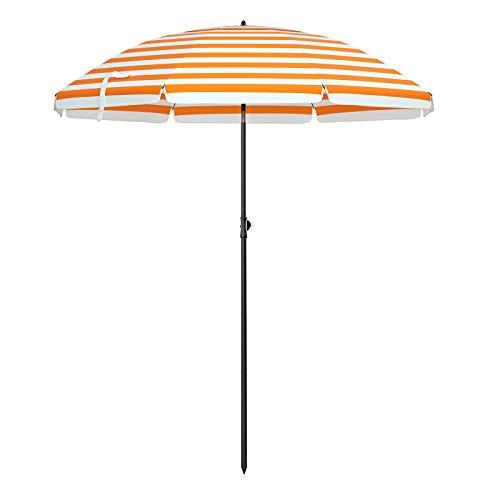 SONGMICS Parasol de Playa Ø 2 m, Sombrilla de jardín con UPF 50+, Inclinable, Portátil y Resistente al Viento, Varillas de Fibra de Vidrio, Bolsa de Transporte, Raya Naranja y Blanco GPU65OW