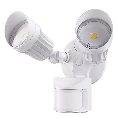 LEONLITE 2 Head LED Outdoor Security Floodlight Motion Sensor, 3 Lighting Modes, ETL & DLC Listed,...