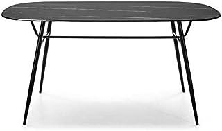 Tousmesmeubles Table de Repas Marbre Noir Verre/Métal - NILANI - L 160 x l 90 x H 77 - Neuf