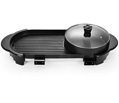 Elegance Z elektrische barbecue van staal voor de gezondheid thuis, rook in hete grill, platen met antiaanbaklaag en verticale opslag, zwart