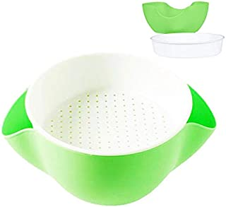 Double Dish Pistachio Bowl,Nuts Bowl, Pecan,Peanut,Edamame,Fruit,Breakproof Snack Serving Bowl (Green/White) (Green)