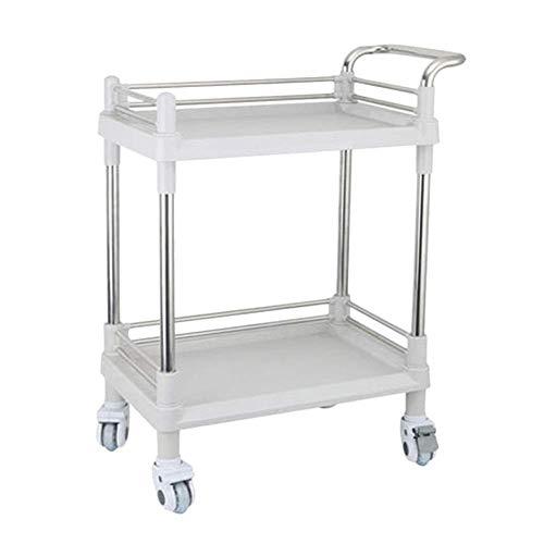 Edelstahl-Laufkatze, Hochleistungsrollenlaufkatze-Salon-Schönheits-Badekurort-Speicherrad ABS Plastik 2 Fach-Weiß mit FachWGWJ