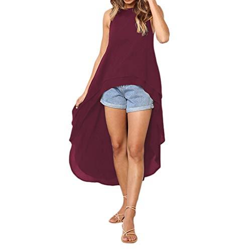 Geili Damen Mode Cool Lange Bluse Frauen Unregelmäßige Rüschen Hem Shirt Langarm...