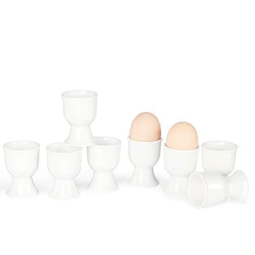 ONTUBE Porcelain Egg Cups,Ceramic Egg Stand Holders for Hard Boiled Eggs Set of 8 (White)