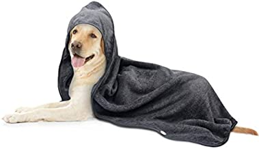 SINLAND Microfiber Oversized Hooded Bath Pet Towel for Dogs and Cats 100cm x 100cm (Grey)