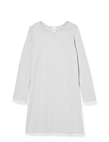 Sanetta Mädchen Sleepshirt Silber Zauberhaftes Nachthemd Dots-Alloverprint und mit feiner Spitze, grau, 128