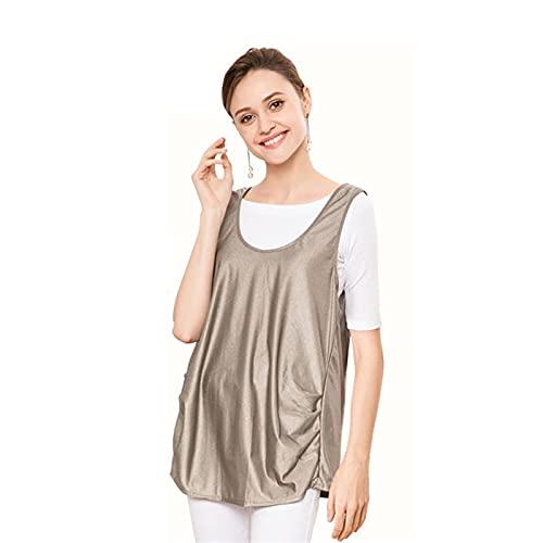MOZHANG Chaleco de maternidad anti-radiación, equipo de fibra de plata Equipo electrónico Vestido de maternidad 360 ° Blindaje Protección de radiación Vestir chaleco mujeres embarazadas Tops, plata gr