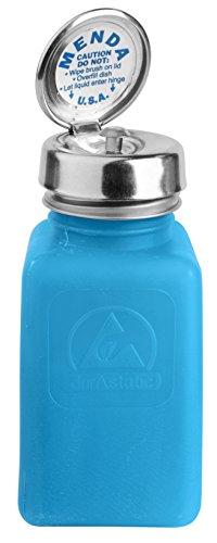 Menda 35285 Pure Touch Stainless Steel Liquid Dispenser Pump, ESD Safe durAstatic Square Bottle, 6 oz, High Density Polyethylene/Stainless Steel, Blue