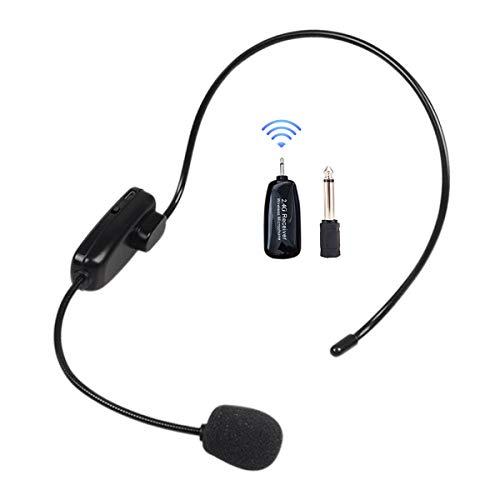 Micrófono inalámbrico 2,4 G, auriculares con altavoz y portátil 2 en 1, recargable, micrófono inalámbrico para amplificador de voz, conferencias, enseñanza, escalera de viaje