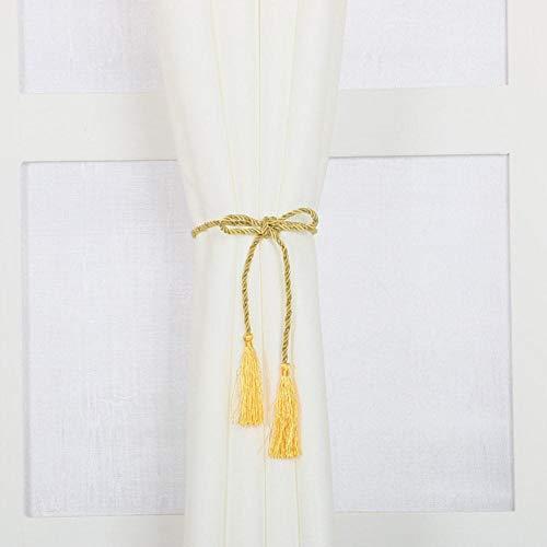 Piner 1 paar eenvoudige stijl raamdecoratie gordijn kwast touw tie backs gordijn franje tiebacks home gordijn houder accessoires, goud, 1 paar
