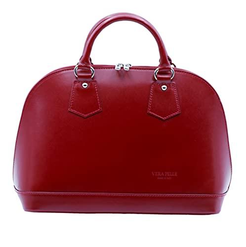 Bella&Quinny Lederhandtasche Fiorentina (rot) Made in Italy, Echtleder in italienischer Tradition. Handtasche, Umhängetasche, Crossbody. Edles Leder, elegantes Design, feine Verarbeitung.