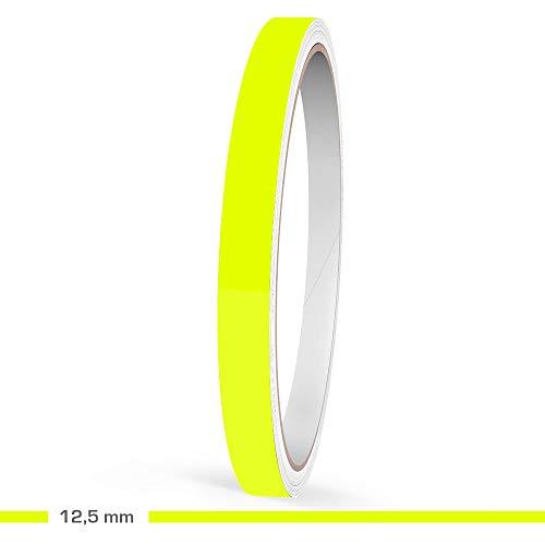 Motoking Zierstreifen, Neon Gelb Fluoreszierend, 12,5 mm Breite, 10 m Länge, Aufkleber Folie Auto Boot Motorrad Wohnmobil Wohnwagen & mehr