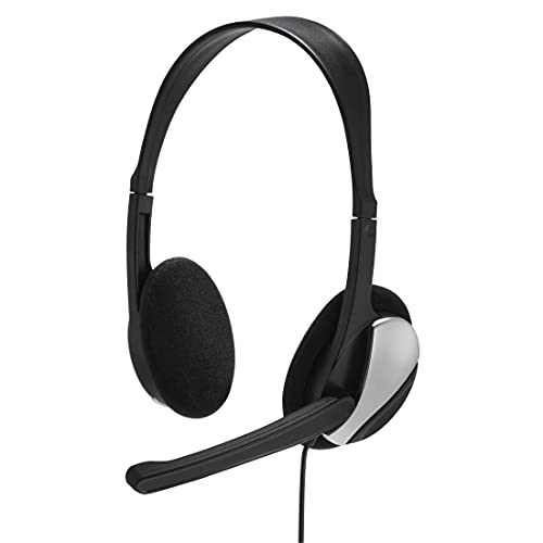 "Hama PC Headset \""HS-P100\"" mit Mikrofon (ultra leicht, On-Ear, Stereo, Lautstärkeregler am Kabel, 2 m Kabellänge, 3,5 mm Klinke) schwarz"