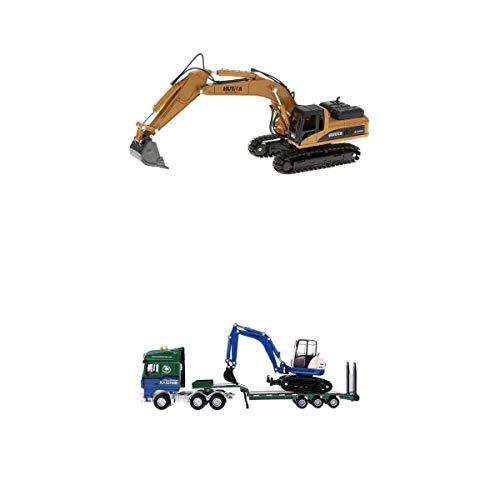 Bonarty 3pcs Juguete de Automóvil de Función Inercial Modelo de Camión de Rmolque y Excavadora Realista Accesorios de Mesa de Arena