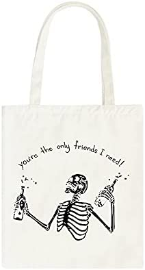 Shoulder Bags Gothic skull letter Shipping included canvas ca Japanese Max 90% OFF bag printed