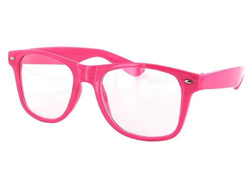 Alsino Nerd Brille ohne Stärke Karneval Rockabilly Fasching Nerdbrille Sonnenbrille Fake Schwarz Hornbrille für Kostüm Fakebrillen Accessoires Modebrille Vintage Lehrerin (pink)