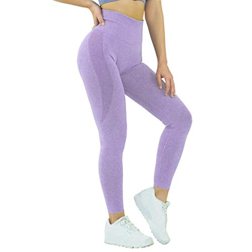Jetjoy Seamless Leggings for Women Yoga Pants Sport Workout Sexy Tights High Waisted Gym Exercise Capri Leggings Lavender