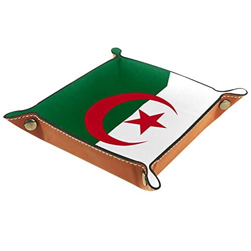 YATELI Caja de Almacenamiento pequeña, Bandeja de Valet para Hombre,Bandera,Organizador de Cuero para Llaves de Caja de Monedas