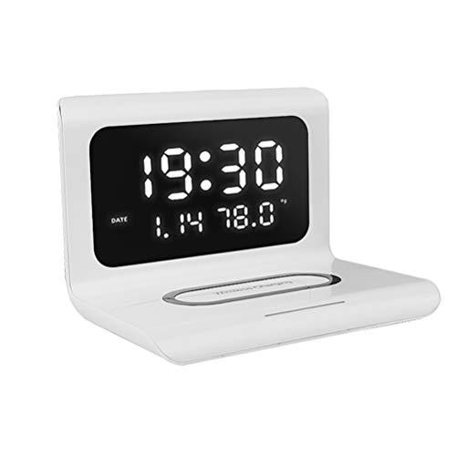 Amosfun Despertador digital con cargador inalámbrico Pantalla LED transparente Cargador rápido Teléfono Dock Reloj inteligente Cargador para Dormitorio Mesilla de Noche Oficina Blanco