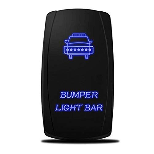 XPOXx Universal 5 Pin 20A 12V COCE SPST AUTOMÓVILES AUTOMÁTICO AUTOMOQUE/Off Rocker Toggle Switch w/Barra de luz de Parachoques láser LED Azul (Color : Blue LED Light)
