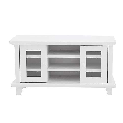 1:12 Miniatyr trämöbler, dockskåp TV-skåp, dekoration för barns dockhus (vit)