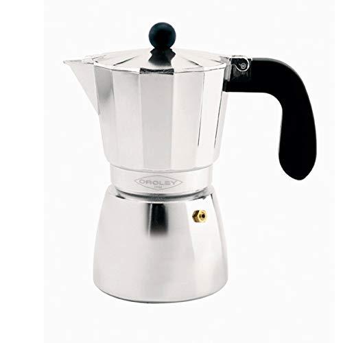 Oroley - Cafetera Italiana Alu | Aluminio | 6 Tazas | Cafetera Vitrocerámica, Fuego y Gas | Estilo Tradicional