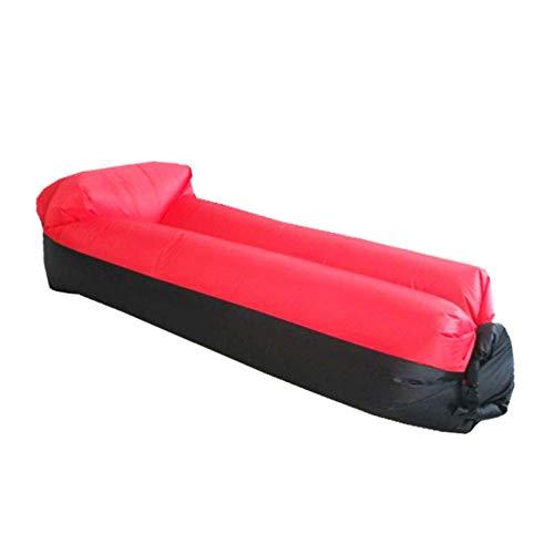 Decor Sofá tumbonas Inflable con la Bolsa de Transporte, Cama Inflable de la Cama de la Cama de la Cama Fácil inflación, Camping Beach Senderismo Parque Mayor (Color : Red)