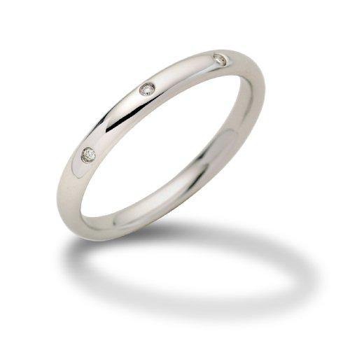 Miore Schmuck Damen 0.03 Ct Diamantsring mit 6 Diamanten Brillanten Ring aus Weißgold 18 Karat / 750 Gold