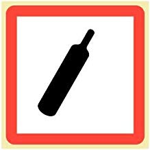"""COMPRESSED GAS Hazard-Safety Labels (GHS Pictogram Symbol), 2"""" X 2"""" White Self-Adhesive Vinyl - ROLL OF 500 LABELS"""