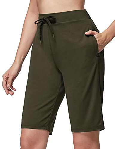 "BALEAF Women's 10"" Golf Bermuda Shorts with Zipper Pockets Long Hiking Shorts UPF 50+ Quick Dry Green L"