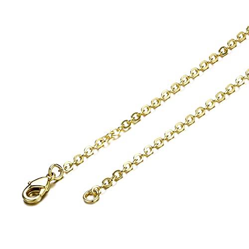 Venta al por mayor de 12 piezas de cadena de cable plano de latón chapado en oro cadenas de collar terminadas a granel para la fabricación de collares