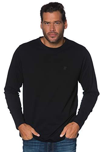 JP 1880 Herren L-8XL bis 8XL, Langarmshirt, Sweatshirt mit Logo-Stickerei, Basic, Rundhals, Regular Fit, Baumwolle schwarz 5XL 702559 10-5XL