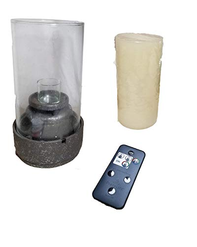 ShoppeShare Tabletop Stone-Look Water Fountain Candle Holder and Flameless RC LED Pillar Bundle - Retired PartyLite