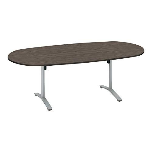 コクヨ ミーティングテーブル ビエナ 天板固定 楕円形 T字脚 塗装脚 配線ボックスなし 幅210×奥行105cm アジャスター仕様 アッシュブラウン/フラットシルバー