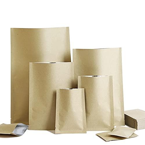Bolsas selladas al vacío, 100 unidades de papel kraft con parte superior abierta, bolsa de papel Mylar, sellado al vacío, bolsas de embalaje de alimentos para café y caramelo (color: 15 x 22 cm)