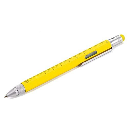 TROIKA CONSTRUCTION Multitasking-Kugelschreiber - PIP20/YE - gelb - Zentimeter- und Zoll-Lineal - 1:20 m und 1:50 m Skala, - Wasserwaage - Schlitz- und Kreuzschraubendreher - Stylus