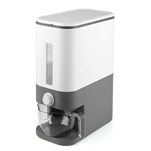 U-miss 25 Lbs Rice Dispenser, Large Sealed Grain Container Storage with Lid Measuring Cylinder Moisture Proof Household Cereal Dispenser Bucket for Kitchen Soybean Corn