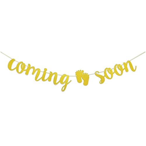 Baby Coming Soon Gold Glitter Banner for Pregnancy Annoucement Baby Shower Supplies Decorations