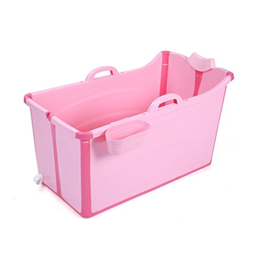 MMM- Adulte/Enfants seau de bain plier grand Baignoire Rangement Baril de bain pour enfants Bébé nager avec couvercle Baignoire (Couleur : CHILDREN-PINK, taille : A)
