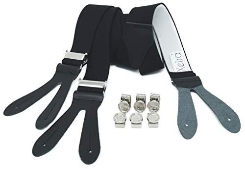 Xeira Herren Hosenträger mit Lederriemen und Knopfklips Schwarz Standard 110cm